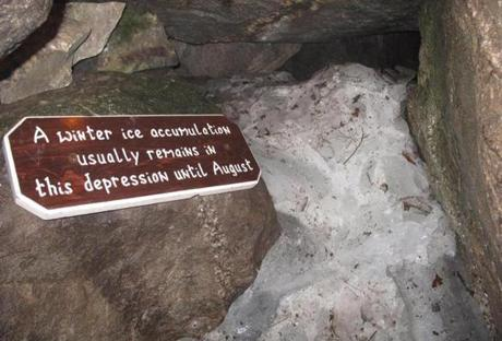Some caves remain filled with ice into summer.